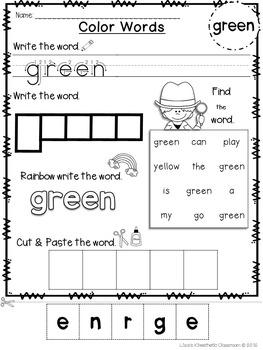 Emergent Readers: Color Words GREEN