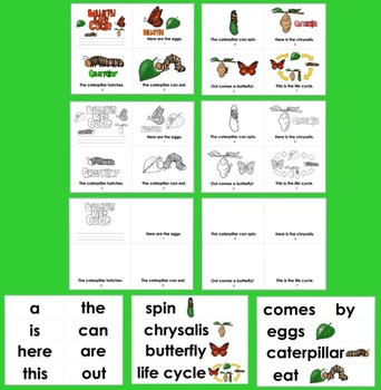 Butterfly Life Cycle Readers - 3 Levels + Illustrated Vocabulary For Word Wall
