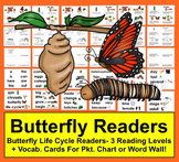 Butterfly Life Cycle Mini Books - 3 Levels + Illustrated Vocabulary Word Wall