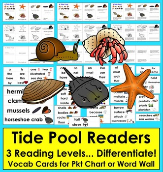 Tide Pools Differentiated Readers - 3 Levels + Illustrated