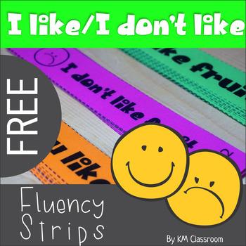 Emergent Readers I like I Don't Like Fruit Fluency Strips Freebie