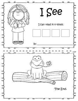 Emergent Readers Booklets - I see Booklet - Sight words,CV