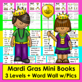 Mardi Gras Readers Mini Books--3 Levels + Illustrated Word Wall