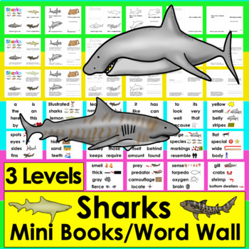 Sharks Readers - 3 Reading Levels + Illustrated Vocabulary Cards