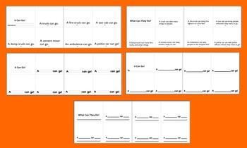 Emergent Readers Mini Books-Truck Theme-2 Levels-9 Versions