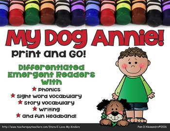 My Dog Annie - Emergent Readers -Picture Word Cards and Writing Paper!