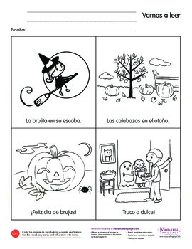 Emergent Reading Activity in Spanish: Día de brujas