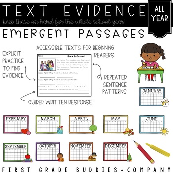Emergent Reading Comprehension Passages and Questions | Text Evidence | Seasonal
