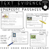Emergent Reading Comprehension Passages and Questions | Text Evidence
