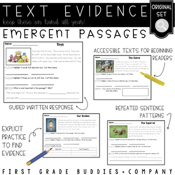 Emergent Reading Comprehension Passages and Questions   Text Evidence