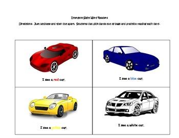 Emergent Sight Word Cards  Theme: Car