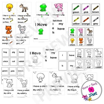 Sight Word Emergent Reader- Book & Activity: Animal Colors (I, have, it, is)