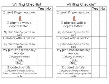 Emergent Writer Checklist and Rubric