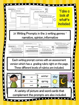 Emergent Writers BUNDLE - writing prompts, steps and rubrics