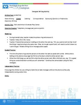 Emergent Writing Sample Lesson Plans