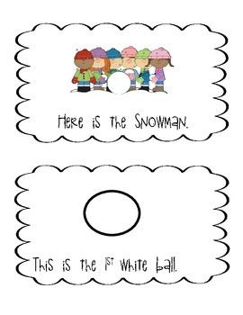 Emergent reader, sight words, snowman, kindergarten