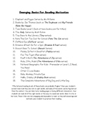 Emerging Readers Book List for Reading Motivation