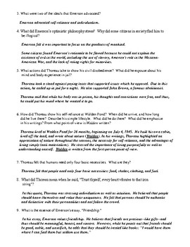 Emerson, Thoreau, and Romanticism Homework or Group Review with Answer Key