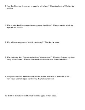 Emerson's Nature and Self-Reliance Worksheet (or Test) and Detailed Answer Key