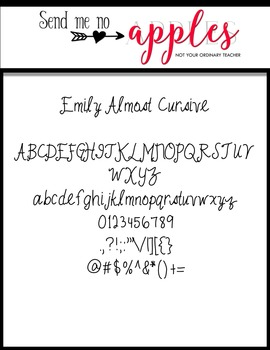Emily Almost Cursive {Emily Font} - Commercial Use Personal Use OK
