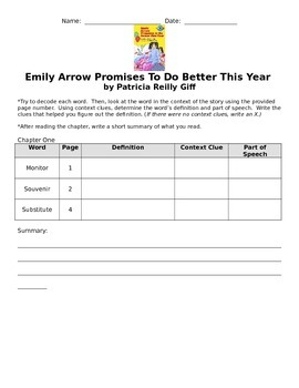 Emily Arrow Promises to Do Better This Year Chapter Vocabulary and Comprehension