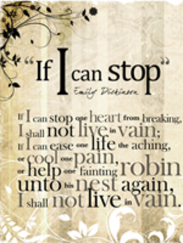 "Emily Dickenson's ""If I Can Stop"" Avant-Garde Poster"