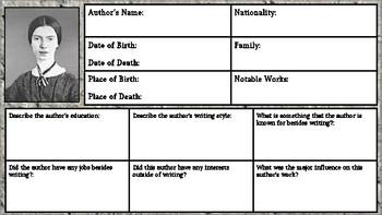 Emily Dickinson: Author Biography Worksheet/Graphic Organizer