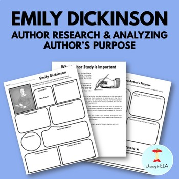 Emily Dickinson - Author Study Worksheet, Author's Purpose, Author Research