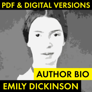 Emily Dickinson Author Study Worksheet, Easy Biography Activity, CCSS