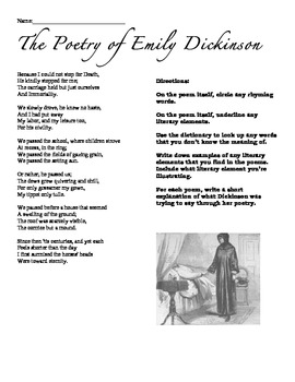"Emily Dickinson ""Because I could not stop for death..."" Handout"