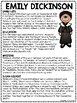 Emily Dickinson Biography Reading Comprehension Worksheet; Poetry