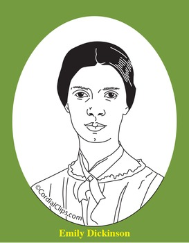 Emily Dickinson Clip Art, Coloring Page or Mini Poster