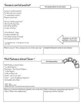 Emily Dickinson - Close Reading Worksheet Packet - Poetry Analysis