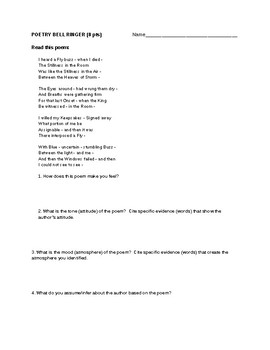 Emily Dickinson I Heard a Fly Buzz Bell Ringer Worksheet