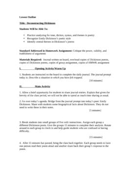 Emily Dickinson Poetry Analysis Lesson Plan