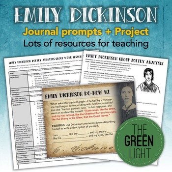 Emily Dickinson Poetry Worksheets, PowerPoint, Project, and Journal Prompts