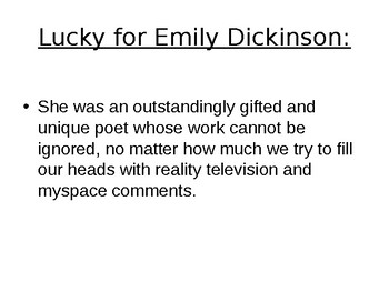 Emily Dickinson Poetry and Life Powerpoint
