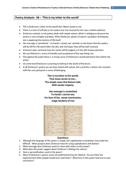 Emily Dickinson Selected Poems- Teacher Text Guides & Worksheets