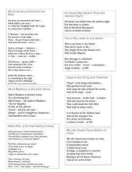 Emily Dickinson: Various Poetry - Dark Romanticism Activity