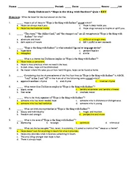 """Emily Dickinson's """"Hope is the thing [...]"""" Study Guide & Multiple Choice Quiz"""