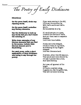 "Emily Dickinson's ""If You Were Coming in the Fall"" poetry handout"