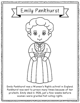 Emily Pankhurst Biography Coloring Page Craft or Poster, England