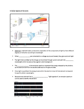 Emission Spectra and Atomic Models Guided Notes