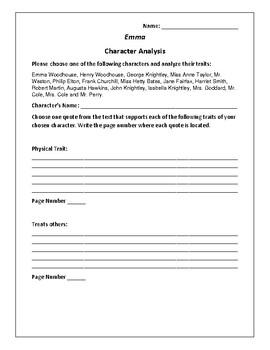 Emma - Character Analysis Activity- Jane Austen