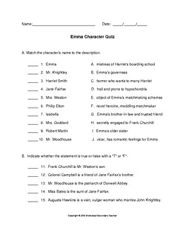 Emma Character Quiz with Answer Key