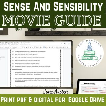 Jane Austen Movie Viewing Guide Bundle- Questions and Graphic Organizers.