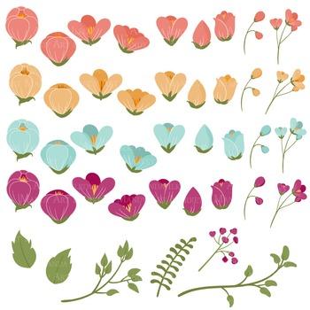 Emma Collection Floral Clipart & Vectors in Bohemian - Flower Clip Art, Flowers