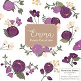 Emma Collection Floral Clipart & Vectors in Deep Plum - Flower Clip Art, Flowers