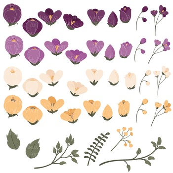 Emma Collection Floral Clipart & Vectors in Deep Plum - Flower Clip Art, Flowers