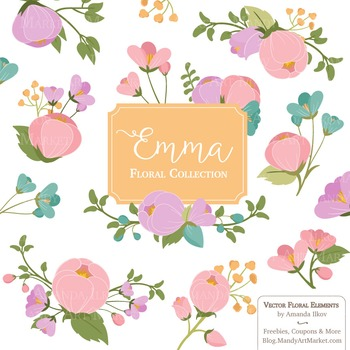 Emma Collection Floral Clipart & Vectors in Garden Party - Flower Clip Art